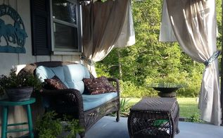 porch remodel with curtains lights landscaping, home decor, home improvement, landscape, porches, window treatments