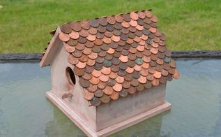 penny copper roof birdhouse, crafts, outdoor living, pets animals