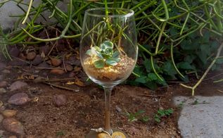 succulent wine glasses gifts that keep on giving, crafts, flowers, gardening, how to, succulents