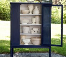 navy white vintage china cabinet, kitchen cabinets, kitchen design, painted furniture