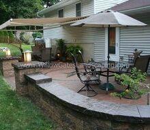 oley paver patio w custom compass rose, concrete masonry, gardening, lighting, patio