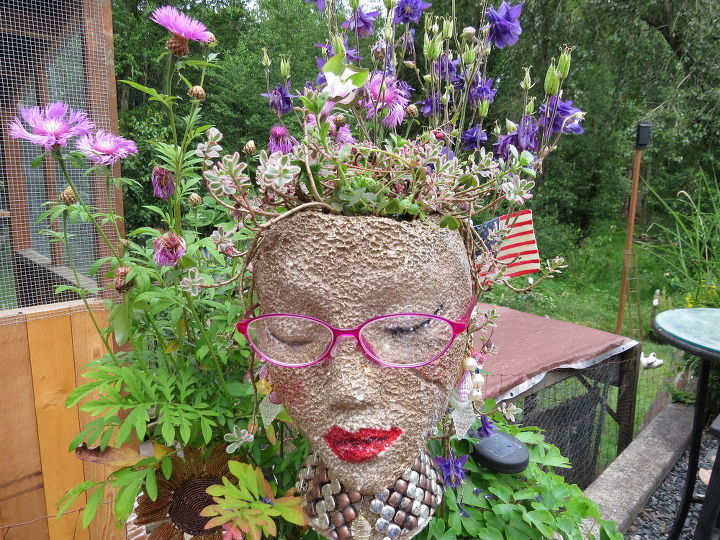 Styrofoam Heads Garden Pots Cute And Unique Hometalk