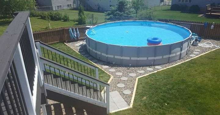 Above Ground Pool Edging Ideas use stone edge decorative edging around your pool purchase your own stone edge decorative edging Making An Outdoor Oasis Around Your Intex Pool Landscape Outdoor Living Pool Designs