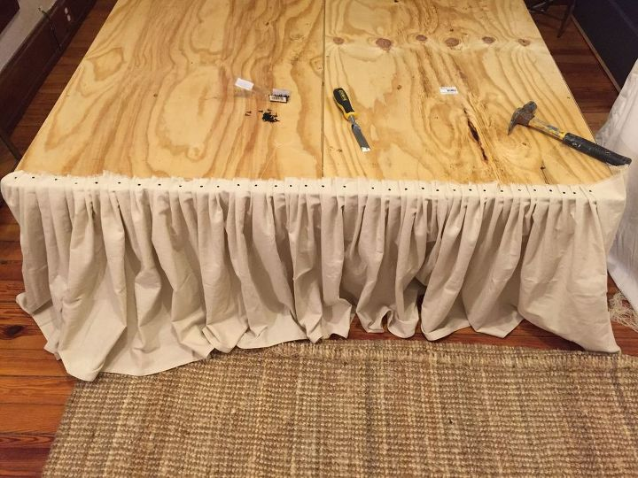 Diy No Sew Drop Cloth Bed Skirt Hometalk