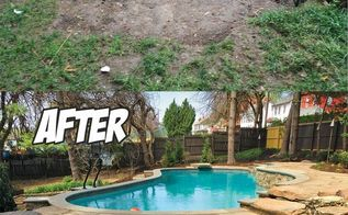 natural stone poolside paradise before after , concrete masonry, landscape, outdoor living, pool designs