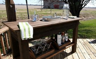 the perfect diy beverage center for any deck , outdoor furniture, woodworking projects