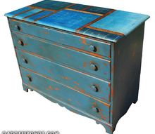overhauled long drawer dresser with vintage yardsticks and original 19, painted furniture
