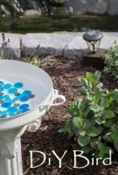 diy bird bath, gardening, outdoor living, painted furniture