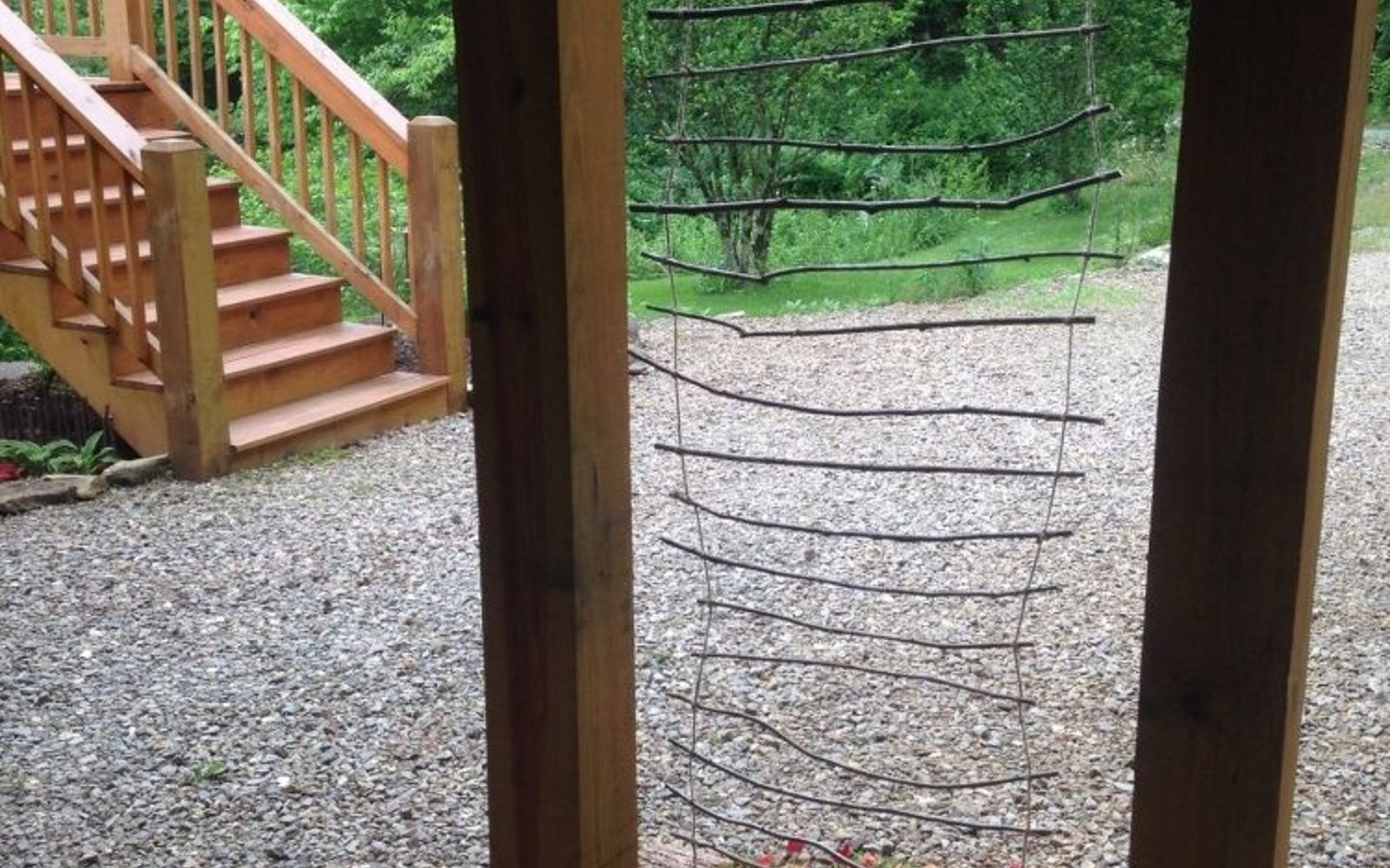 s 17 ways to build a gorgeous garden trellis this summer, gardening, String branches into a twiggy ladder