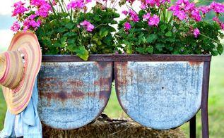 wash tub planter garden junk, bathroom ideas, container gardening, gardening, repurposing upcycling
