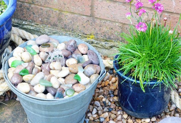 Diy tub or bucket water feature hometalk for Diy ponds water features