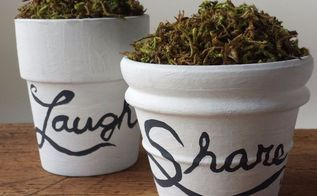 craft moss in clay pots diy, crafts, how to