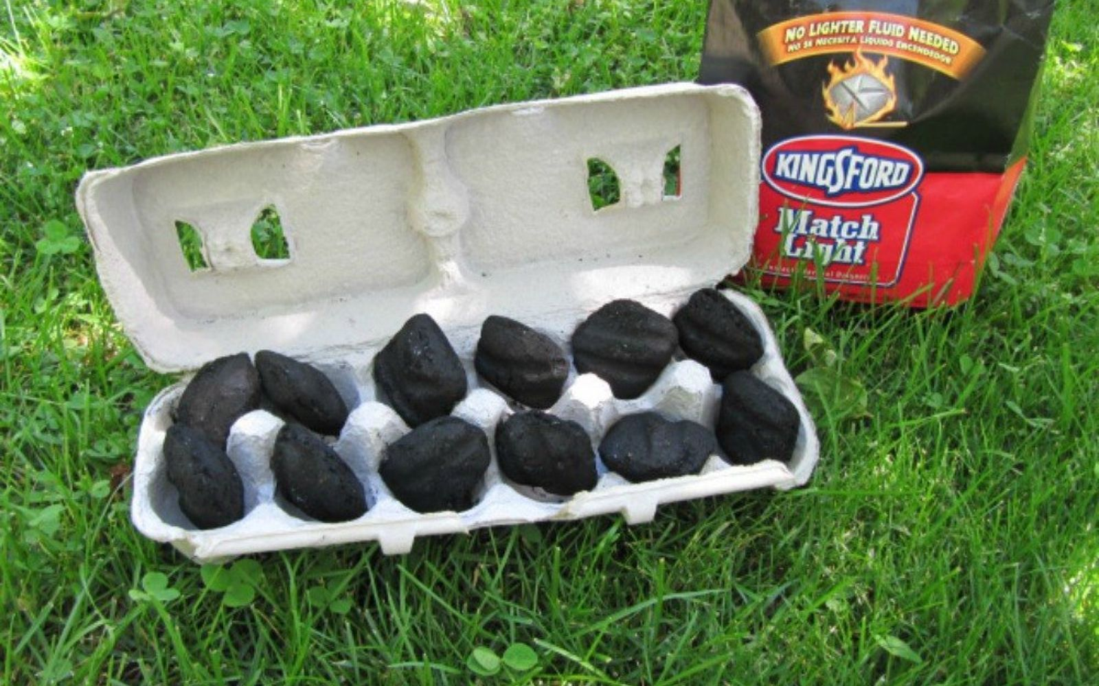 s 9 free fire starters for your summer bbqs, fireplaces mantels, outdoor living, repurposing upcycling, Fill an empty egg carton with charcoal pieces