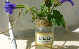 vintage spice bottle vases, container gardening, crafts, gardening, repurposing upcycling
