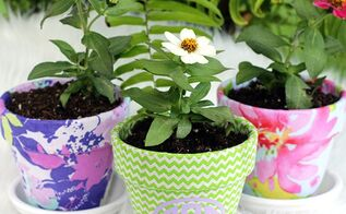 monogrammed summer pots, crafts, decoupage, outdoor living