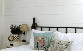 shiplap wall for under 40, bedroom ideas, home decor, woodworking projects