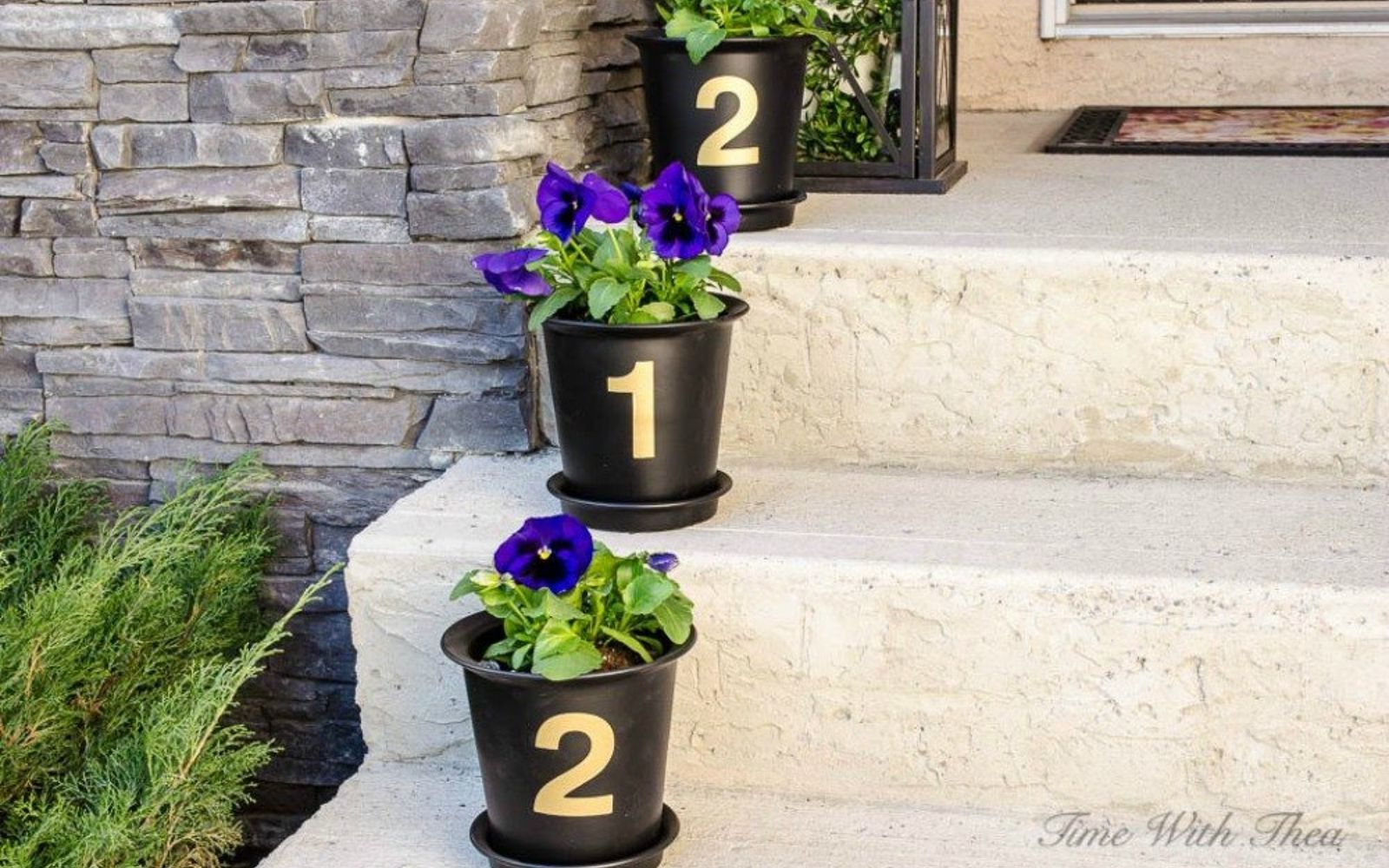 s 11 gorgeous address signs that ll make neighbors stop in admiration, crafts, curb appeal, outdoor living, Or line numbered pots down your front steps
