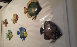 q how to hang decorative fish on porcelain tile wall, wall decor, Fish on tile wall