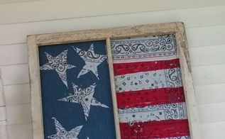 old window repurposed into 4th of july porch decoration, patriotic decor ideas, repurposing upcycling, seasonal holiday decor, windows