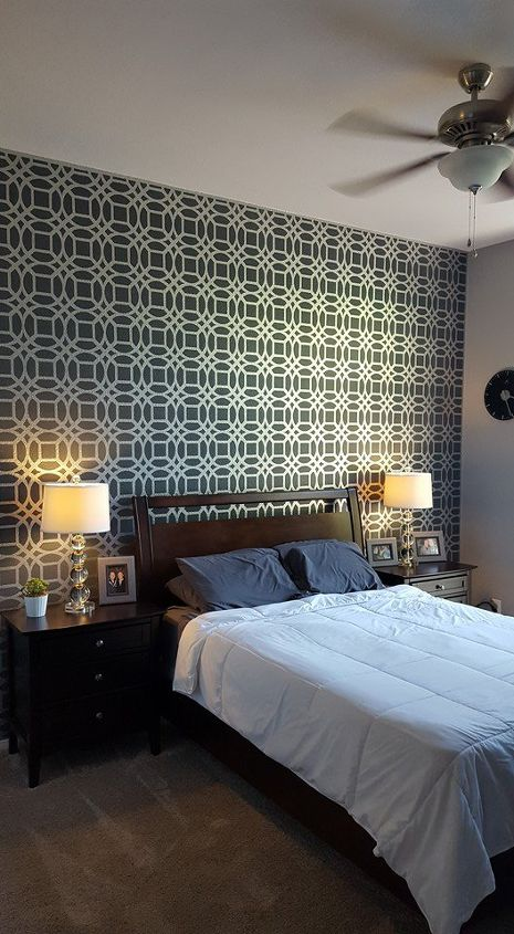 master bedroom stencil accent wall  bedroom ideas  painting  wall decor. Master Bedroom Stencil Accent Wall   Hometalk