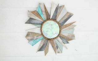 scrap wood sunburst mirror, crafts, home decor, repurposing upcycling