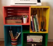 crate storage idea, craft rooms, organizing, shelving ideas, storage ideas