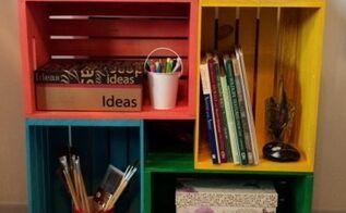 crate storage idea, craft rooms, organizing, shelving ideas, storage ideas