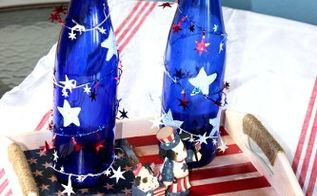 4th of july wine bottle centerpiece, crafts, patriotic decor ideas, repurposing upcycling, seasonal holiday decor