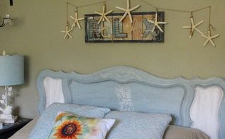 seahorse coastal headboard with saltwash, painted furniture