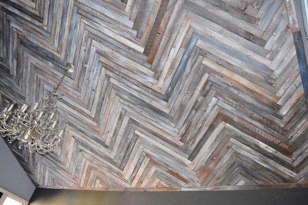 Reclaimed Wood Herringbone Pattern On The Ceiling Diy How To