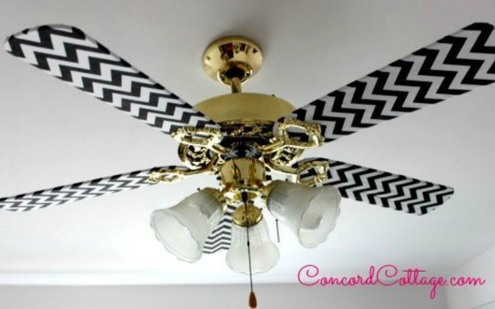 s 13 ways to upgrade your boring ceiling fan on a budget, appliances, wall decor, Cover the fan blades in fun fabric