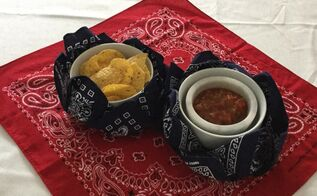 bandana bowls, crafts, repurposing upcycling