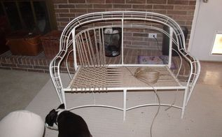 new life to inexpensive resin wicker chairs, outdoor furniture, painted furniture, Warp threads in seat done Adding woof