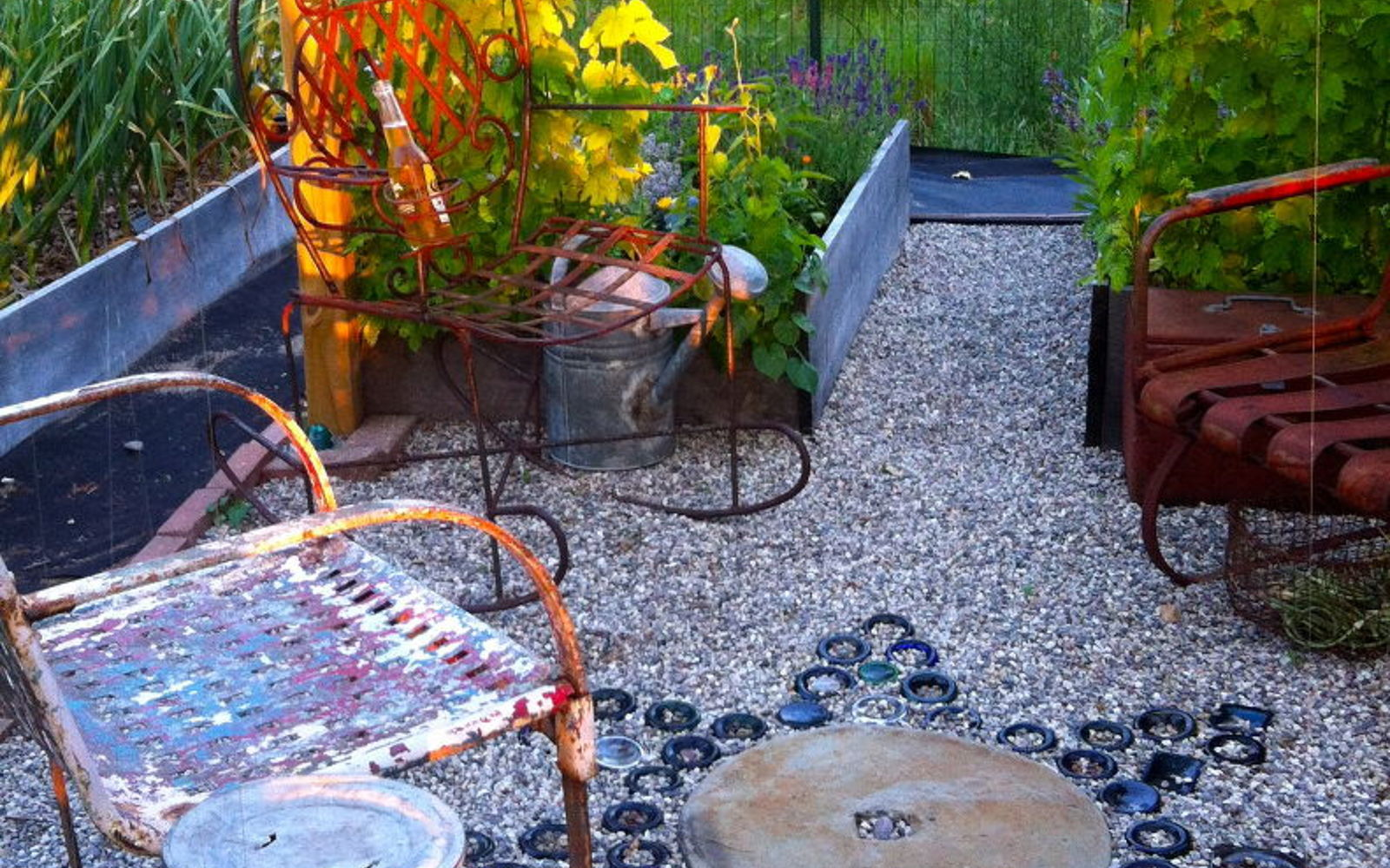 s wait they did what in their backyard , outdoor furniture, outdoor living, Bury bottles in the yard for free mosaic art