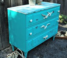 thrift shop dresser into a coastal makeover, home decor, painted furniture