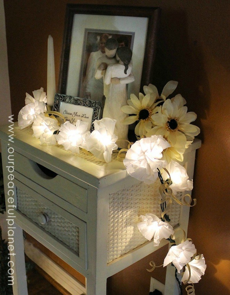 make floral light decor with coffee filters - Home Decor Lights