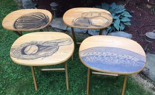 tv trays revamped for the sports enthusiast , painted furniture, painting wood furniture
