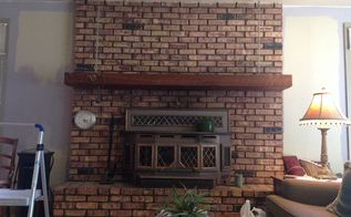 q how do i white wash my brick fireplace , fireplace makeovers, fireplaces mantels, painting, This is the fireplace I would like to whitewash I m planning on removing the insert