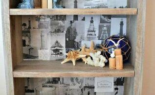 diy lighthouse photo collage bookshelf, decoupage, how to, repurposing upcycling, shelving ideas