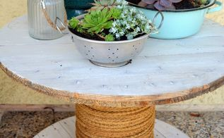 garden cable spool table, chalk paint, painted furniture, repurposing upcycling