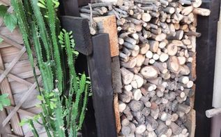 the easy diy log holder, outdoor furniture, painted furniture, repurposing upcycling, storage ideas