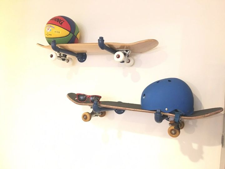 cool skateboard wall shelves ideas | DIY Skateboard Wall Storage | Hometalk