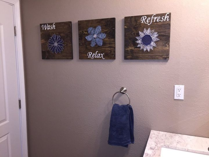 Diy bathroom wall art string art to add a pop of color for Wall art projects
