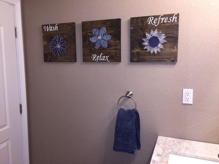 Diy bathroom wall art string art to add a pop of color for Bathroom decor diy ideas