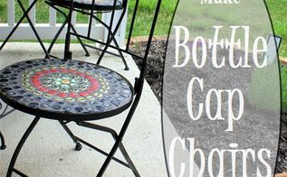 bottle cap mosaic chairs, crafts, outdoor furniture, painted furniture, repurposing upcycling, tiling