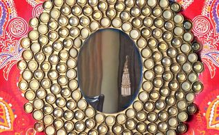 bottle cap boho mirror, home decor, how to, painted furniture, repurposing upcycling, wall decor