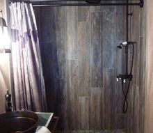 master bathroom transformed with reclaimed wood tile, bathroom ideas, home improvement