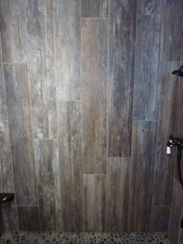 master bathroom transformed with reclaimed wood tile, bathroom ideas, home  improvement - Master Bathroom Transformed With Reclaimed Wood Tile Hometalk