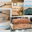 old fashioned milk paint farmhouse fun deconstructed settee, painted furniture, painting, reupholster