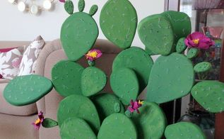 flowering prickly pear cactus diy, crafts, how to